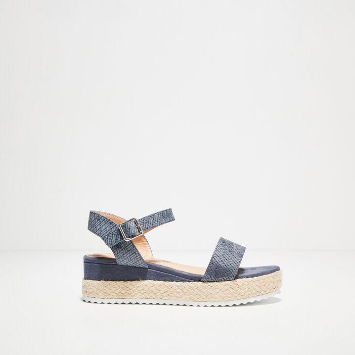 Sandales plateformes bleu femme