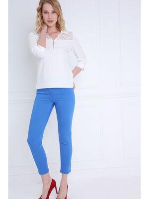 Pantalon ajuste taille haute bleu femme