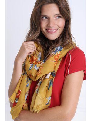 Foulard a franges fines jaune or femme
