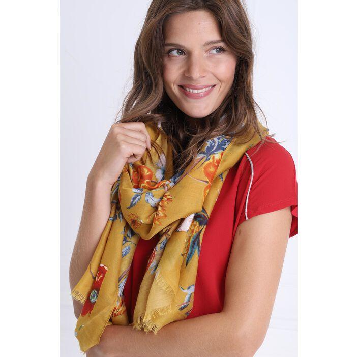 Foulard à franges fines jaune or femme