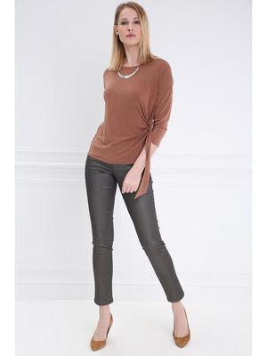 Pantalon taille basculee 78 gris fonce femme