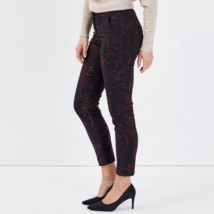 Pantalon chino ajusté bordeaux femme
