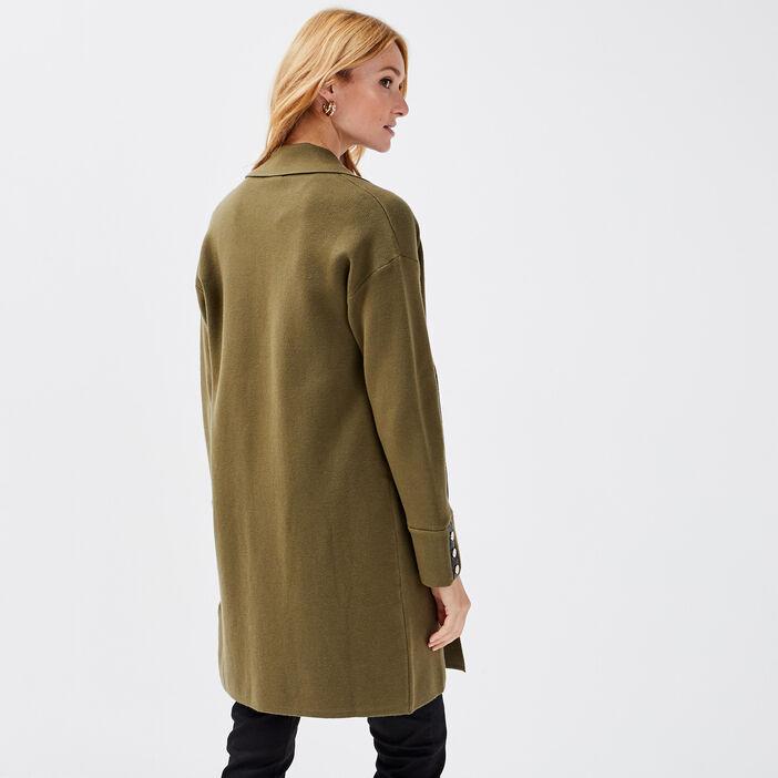 Gilet manches longues vert kaki femme