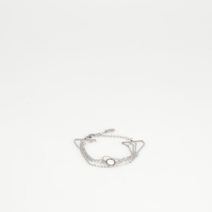 Bracelet multirangs croisés couleur argent femme
