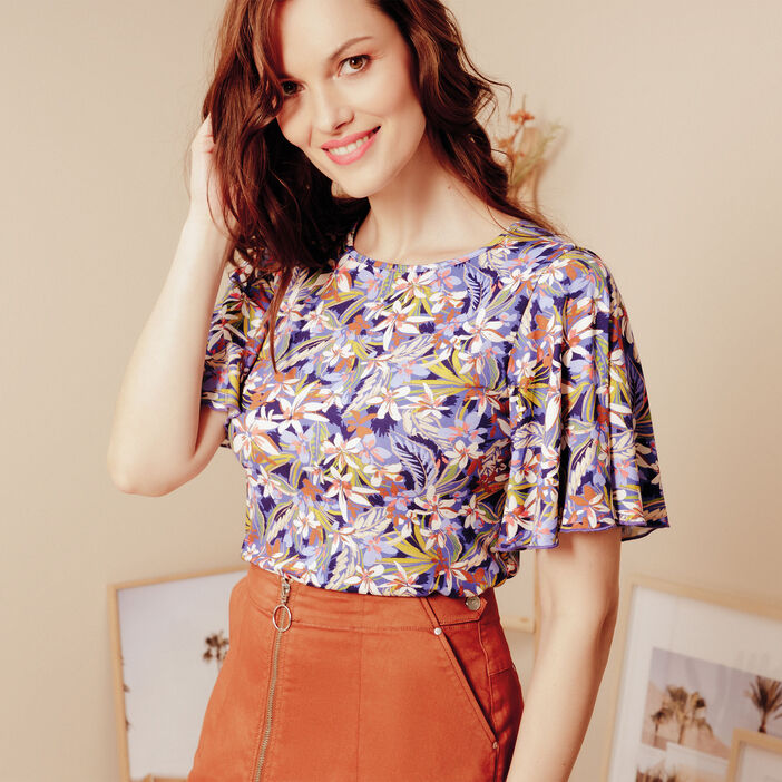 Jupe courte zippée orange foncé femme