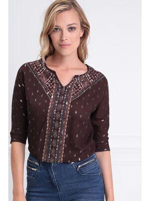 T shirt manches 34 a strass marron fonce femme