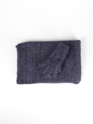 Set gants et echarpe maille bleu roi femme