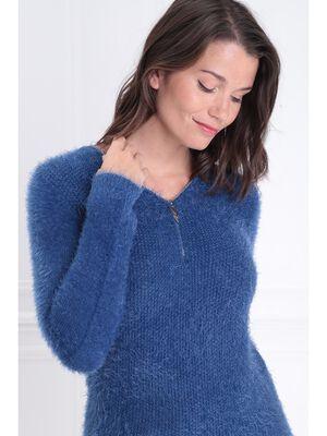 Pull manches longues zippe bleu roi femme