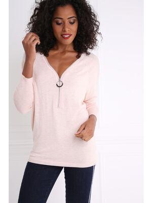 Pull col zippe et details lurex epaules rose femme