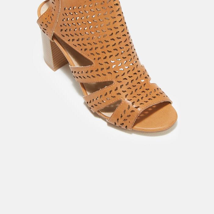Sandales à talons perforées orange foncé femme