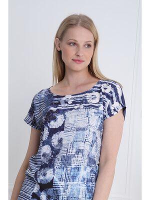 T shirt manches courtes clous bleu marine femme