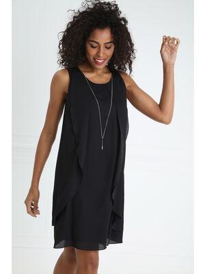 Robe sans manches a pans detail bijou noir femme