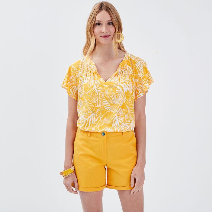 T-shirt manches courtes jaune moutarde femme