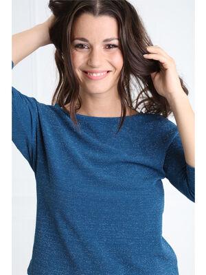 T shirt col rond maille metallisee vert canard femme