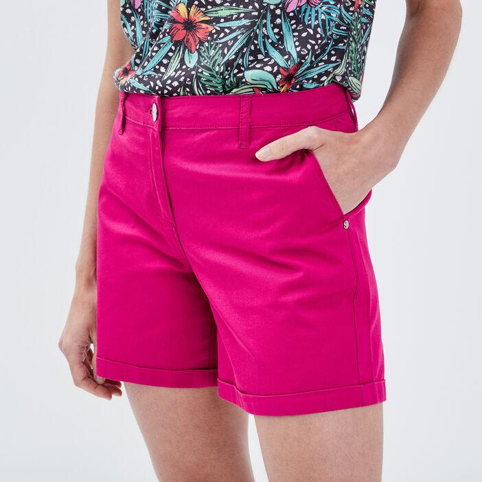 Short droit taille haute rose fushia femme