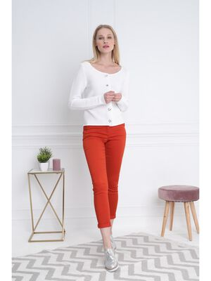 Pantalon taille basculee rouge femme