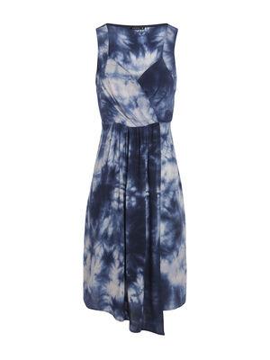 Robe droite asymetrique bleu femme