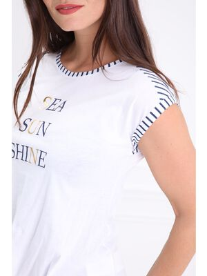 T shirt col rond message blanc femme