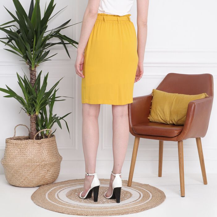 Jupe crayon taille standard jaune or femme