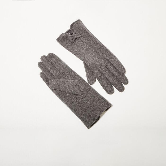 Gants avec détail noeud gris foncé femme