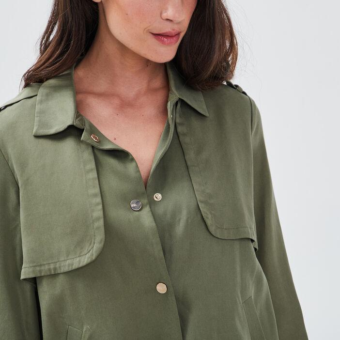 Blouson droit boutonné vert kaki femme