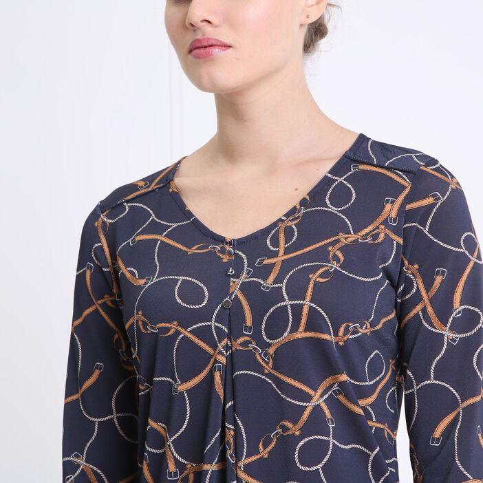 T-shirt col V imprimé bleu marine femme