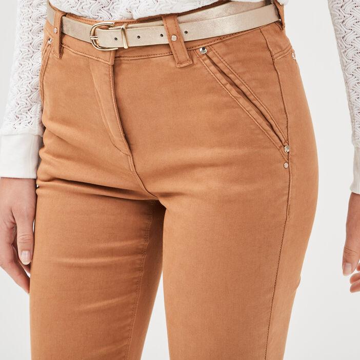 Pantalon ajusté à ceinture marron clair femme