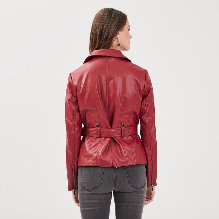 Veste droite ceinturée rouge femme