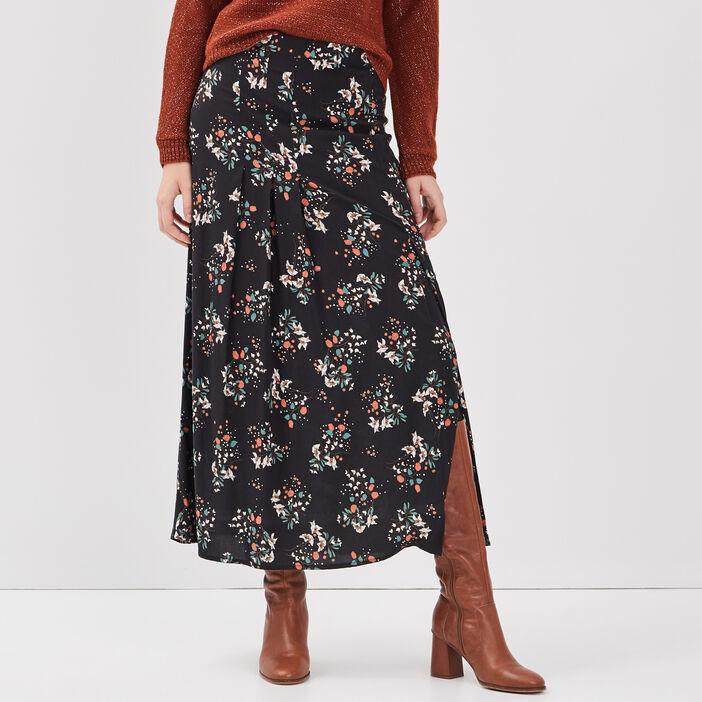 Jupe longue droite fendue noir femme