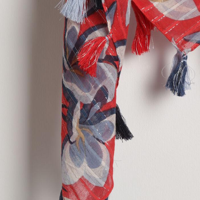 Foulard ornements pompons rouge femme