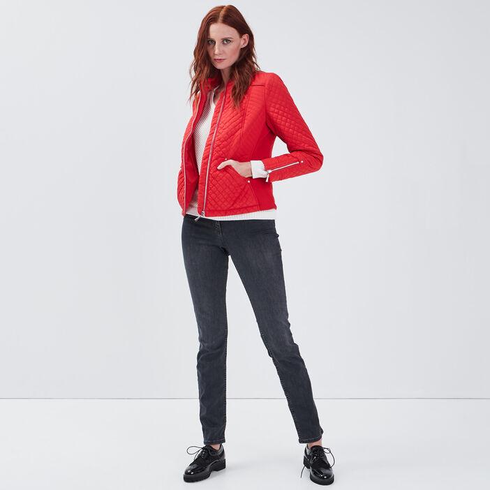 Doudoune droite zippée rouge femme