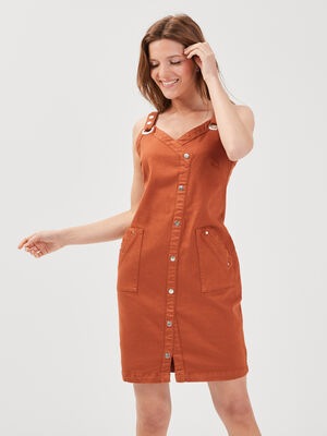 Robe ajustee a bretelles marron cognac femme