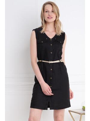 Robe courte ajustee a ceinture noir femme