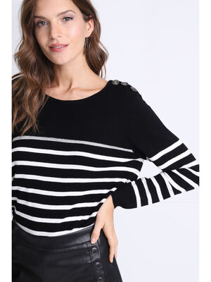 Pull manches longues a boutons noir femme