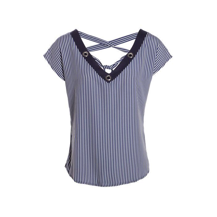 T-shirt col V à oeillets lacé dos bleu marine femme