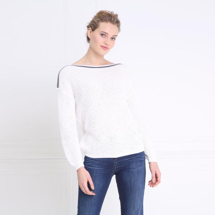 Pull bandes sporty épaules blanc femme