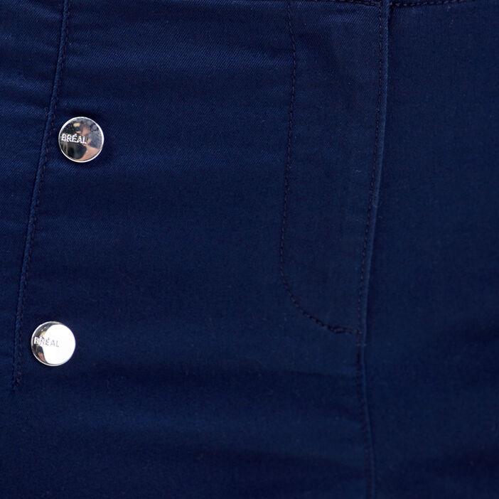 Pantacourt droit à boutons bleu marine femme