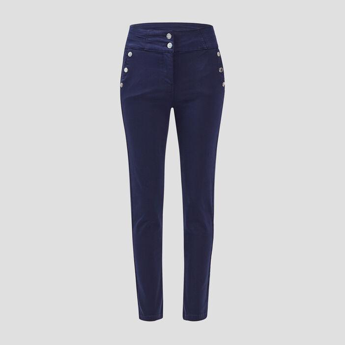 Pantalon ajusté à pont bleu marine femme