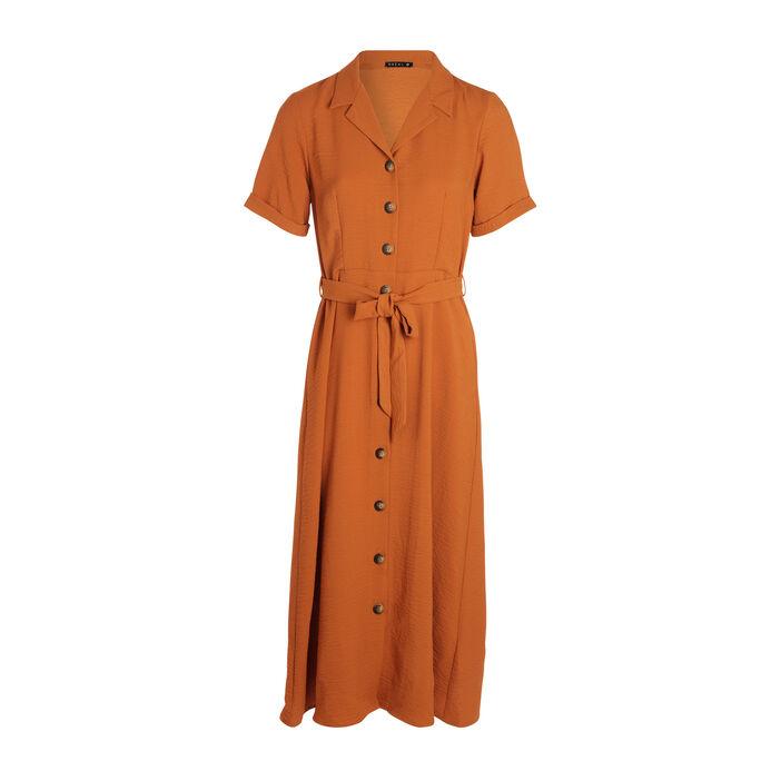Robe chemise longue à ceinture marron femme