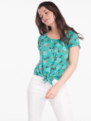 Chemise imprimee nouee vert turquoise femme