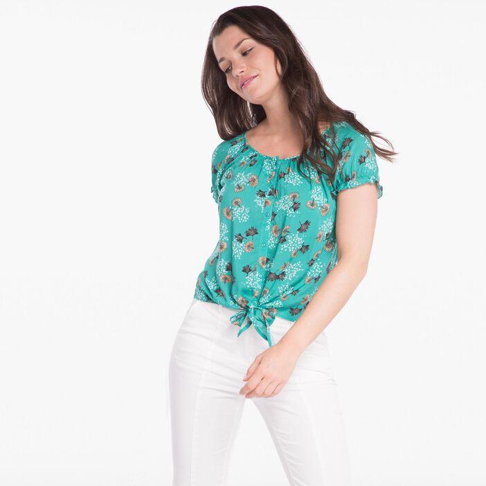 Chemise imprimée nouée vert turquoise femme