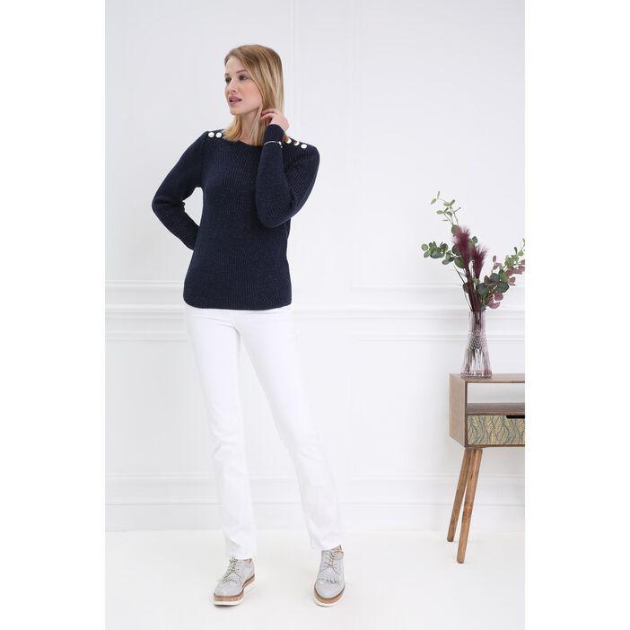 2019 meilleures ventes qualité parfaite haut de gamme authentique Pantalon droit taille haute blanc femme | Bréal