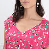 Blouse manches courtes a noeud rose fushia femme