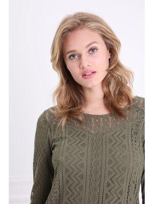 T shirt bimatiere col rond manches 34 vert kaki femme
