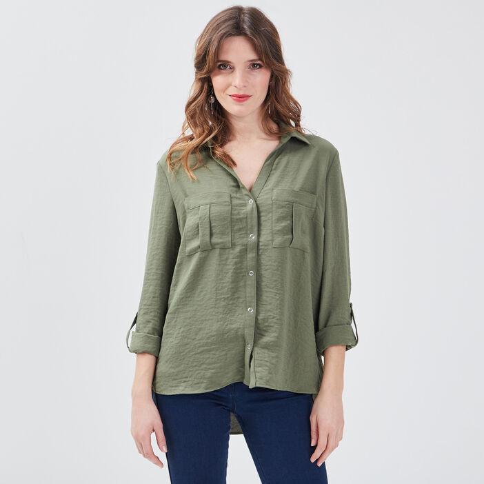 Chemise manches longues vert kaki femme