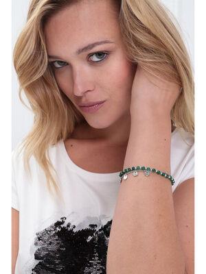 Bracelet 2 rangs piecettes couleur argent femme