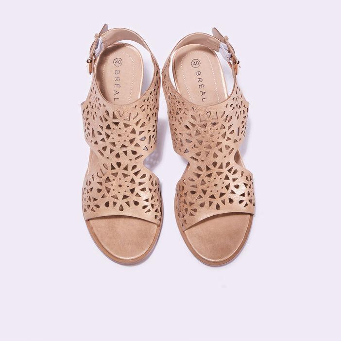 Sandales à talons perforées beige femme