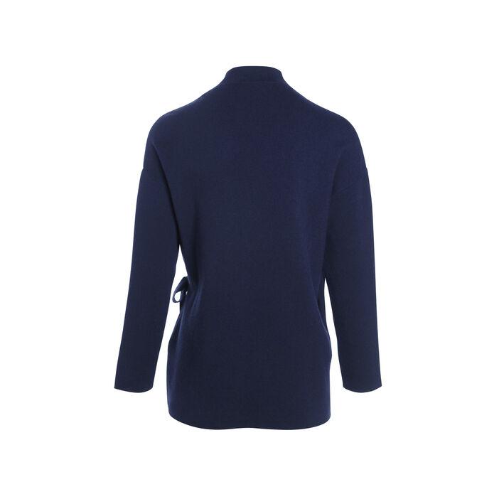 Gilet manches longues noeud bleu marine femme