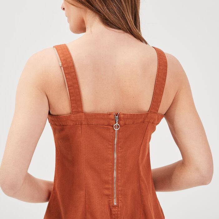 Robe ajustée à bretelles marron cognac femme