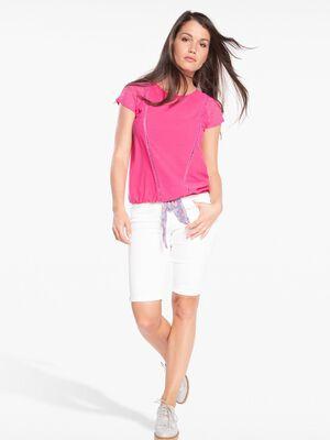T shirt col rond manches en dentelle rose fushia femme